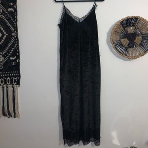 Zara Black Velvet Slip Midi Dress